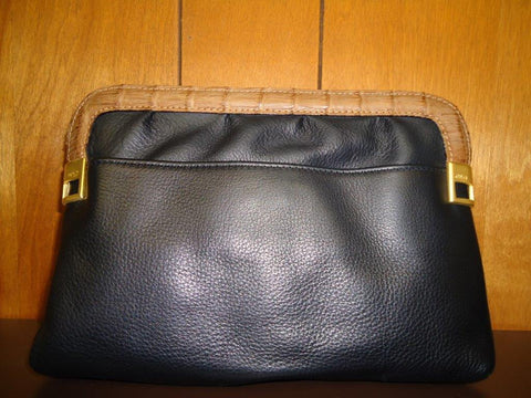 Chloe - Black Leather with Caramel Crocodile Accents Convertible Clutch - Style #494