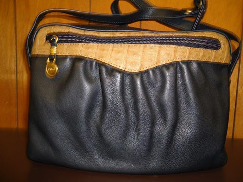 Chloe - Black Leather with Caramel Crocodile Accents Shoulder Bag - Style #402