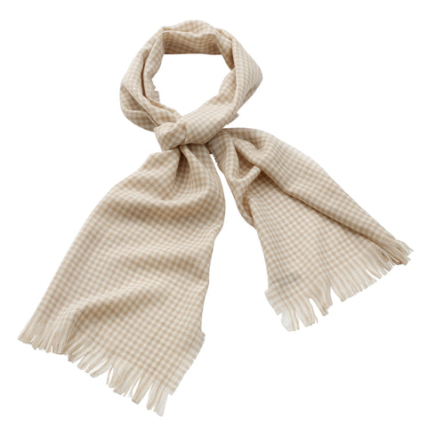 Georges Rech - Wool Checkered Muffler Beige/White