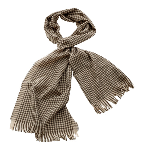 Georges Rech - Wool Checkered Muffler Olive/Tan