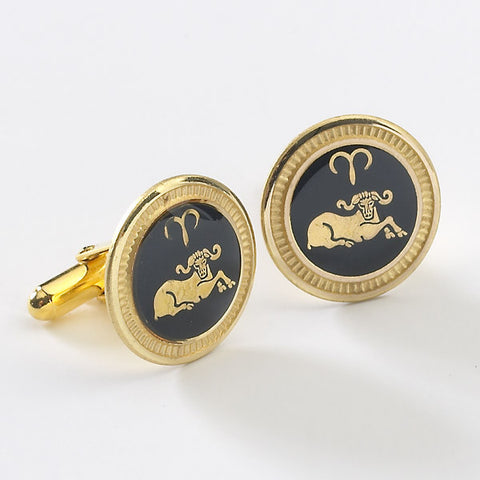 Zodiac 18-Karat Gold Plated Navy Enamel Cufflinks - Aries
