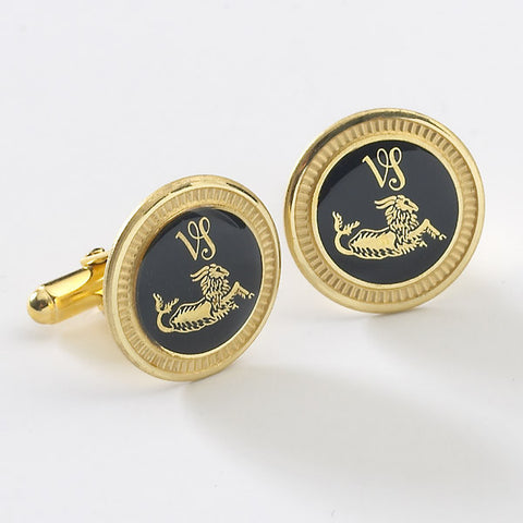 Zodiac 18-Karat Gold Plated Navy Enamel Cufflinks - Capricorn