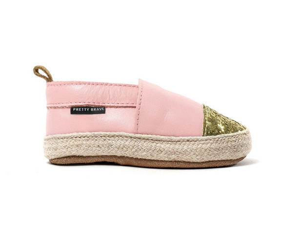 Pretty Brave Pink with Glitter Toe Espadrille