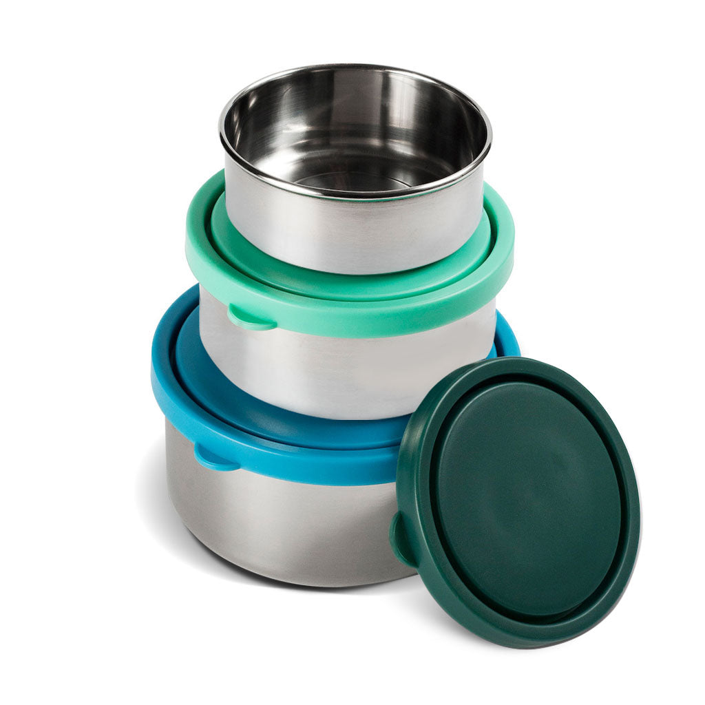 MIRA Stainless Steel Lunch Box Food Containers | Set of 3 | Multi Color (Blue, Teal, Emerald)