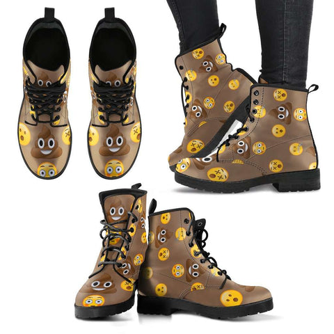 Emoji Poop Womens Leather Boots