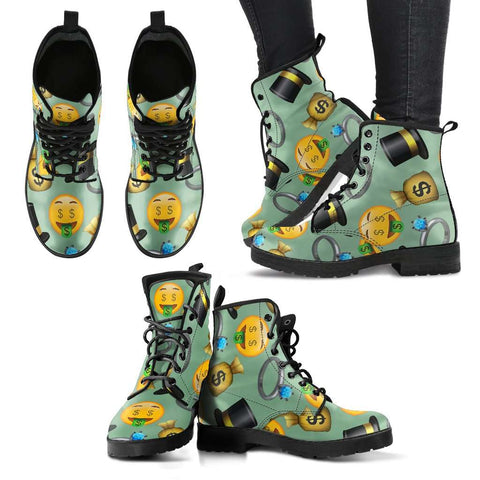 Emoji Money Womens Leather Boots