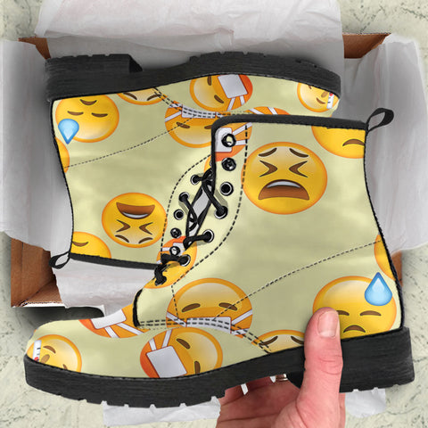 Emoji Sick Womens Leather Boots