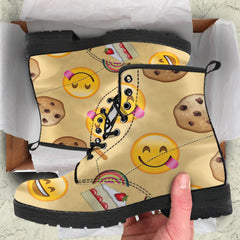 Emoji Sweets Womens Leather Boots