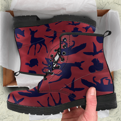 Woodland Creatures Red Womens Leather Boots