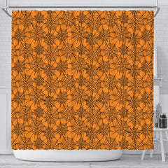 Orange Spider Web Halloween Shower Curtain - STUDIO 11 COUTURE