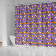Purple Candy Corn Halloween Shower Curtain