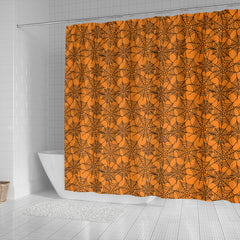 Orange Spider Web Halloween Shower Curtain