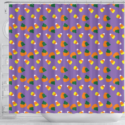 Purple Candy Corn Halloween Shower Curtain - STUDIO 11 COUTURE