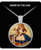 Image of Alice In Wonderland Round Circle Classic Necklace 1.1