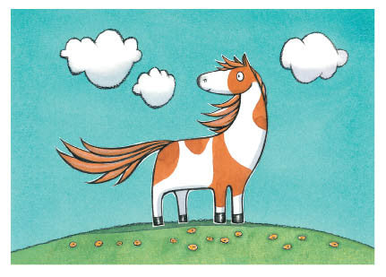 Noni the Pony - blank card, 'Noni the Pony is friendly and funny.'