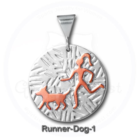 GirlsRunFast.com - Jewelry for runners - Running Pendants - Run with Dog Pendant