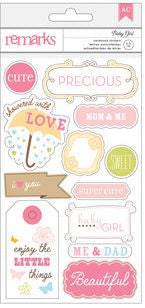 American Crafts Cardstock Stickers - Remarks - Baby Girl - Words