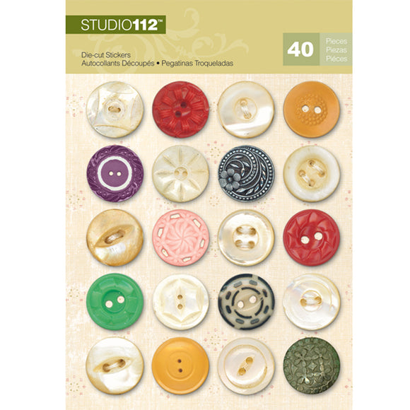 K&Company Studio 112 Die-Cut Stickers - Assorted Button Dots