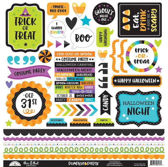 Doodlebug Design 12x12 Cardstock Stickers - Pumpkin Party - This & That