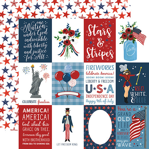 Echo Park Cut-Outs - Celebrate America - 3x4 Journaling Cards