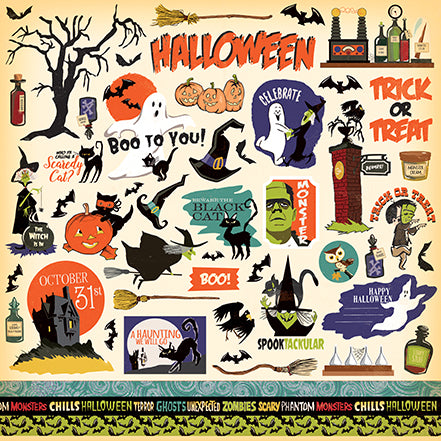 Carta Bella 12x12 Cardstock Stickers - Haunted House - Elements