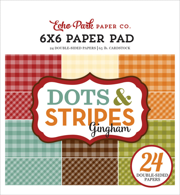 Echo Park 6x6 Pad - Dots & Stripes - Autumn Gingham
