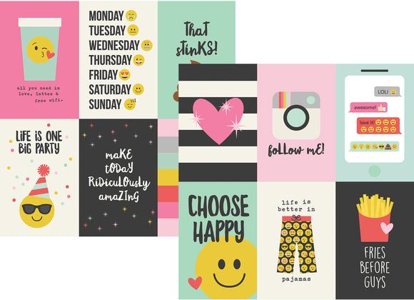 Simple Stories Papers - Emoji Love - 4x6 Vertical Elements - 2 Sheets