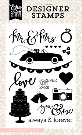 Echo Park Stamp and Die Set - Wedding Bliss - Mr. & Mrs.