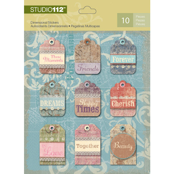 K&Company Studio 112 Dimensional Stickers - Tags