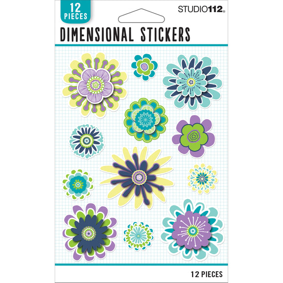 K&Company Studio 112 - Cool Dimensional Stickers - Flowers