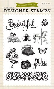 Echo Park Clear Stamp Set - Beautiful Girl
