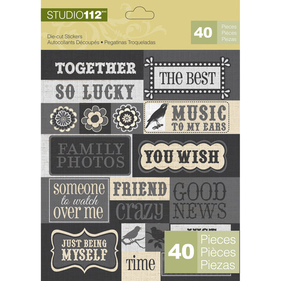 K&Company Studio 112 Die-Cut Stickers - Sayings - Black with Glitter Accents