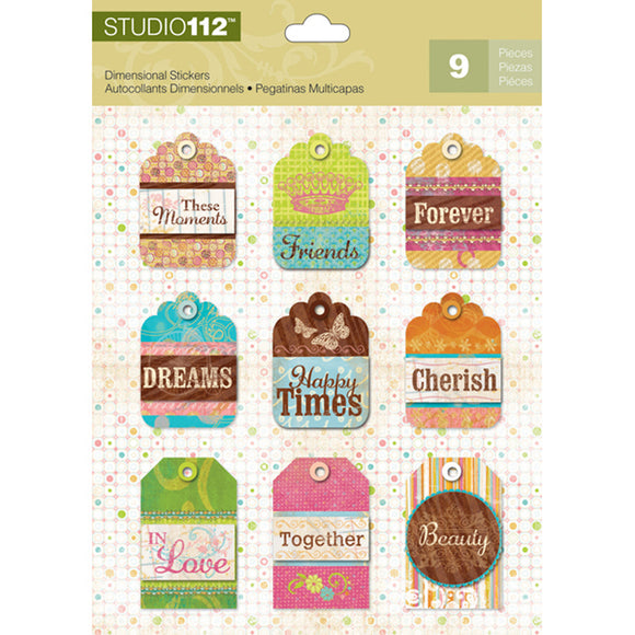 K&Company Studio 112 Dimensional Stickers - Multi Patterned Tag