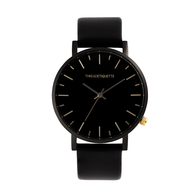 Minimalist – Matte Black / Black Leather Timepiece