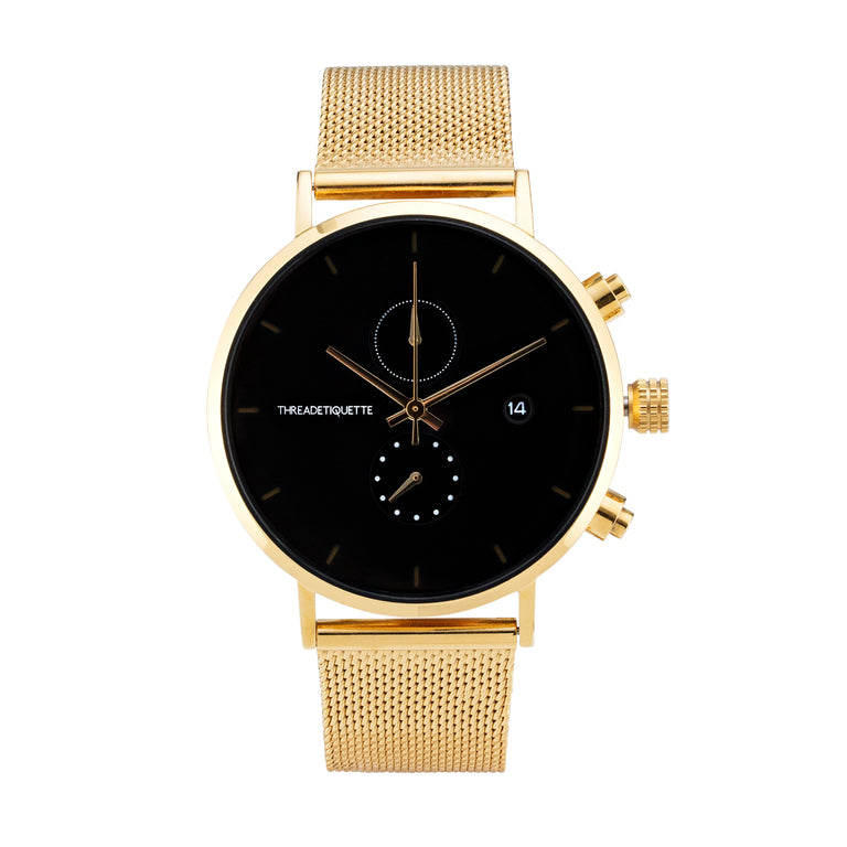 Explorer - Gold mesh / Black Timepiece
