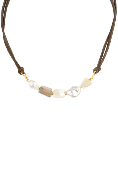Peach Moonstone Pearl Leather Wrap