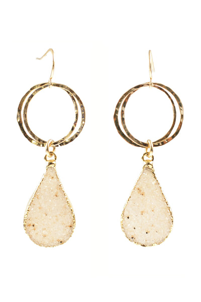 Hammered Hoop Druzy Earrings
