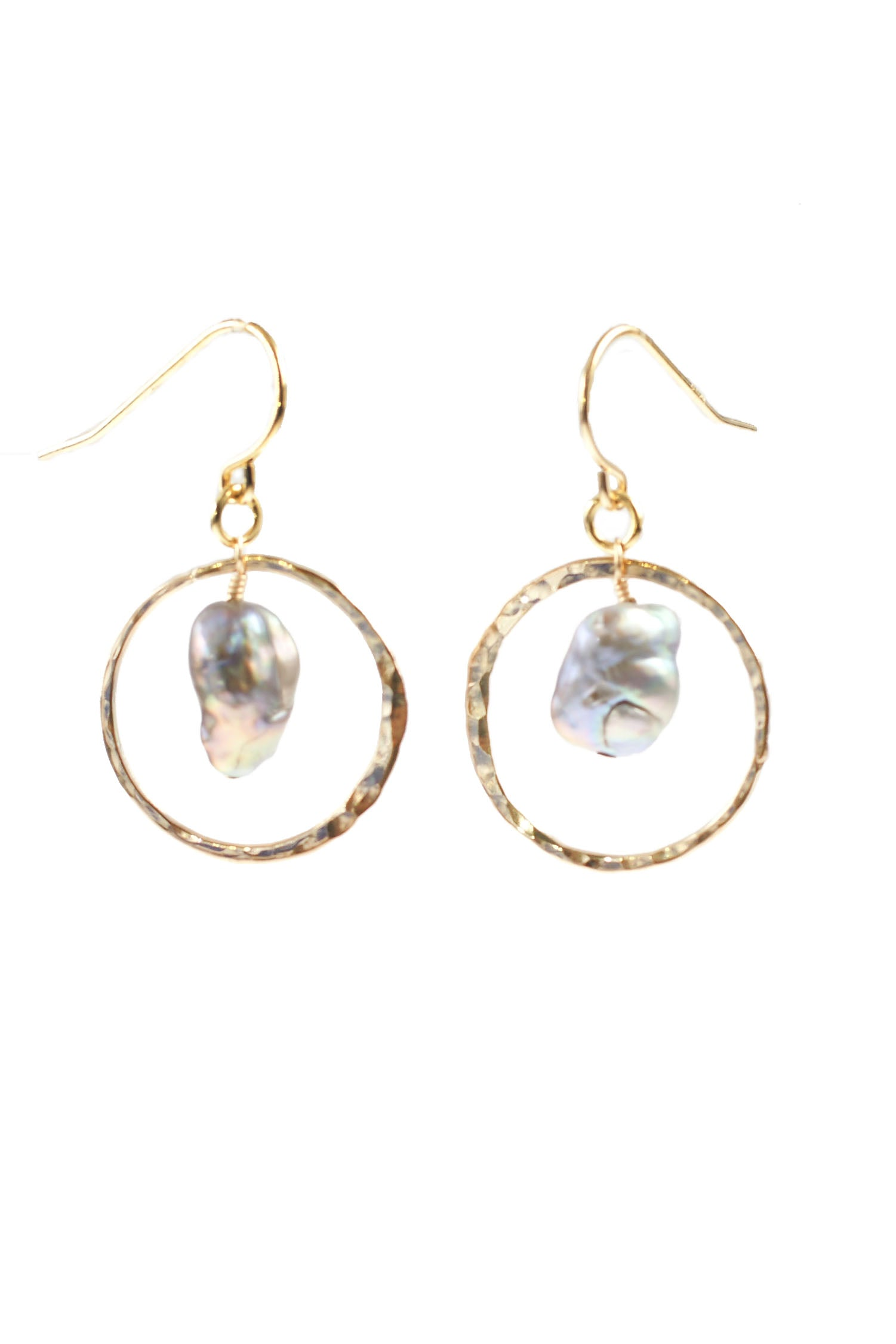 Hammered Keshi Pearl Hoops