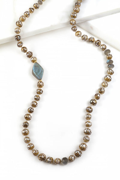 Freshwater Tibetan Mantra Pearl Necklace