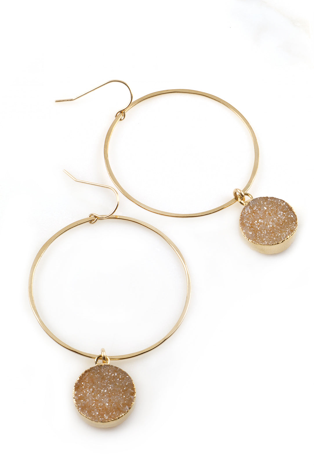 Hammered Gold Hoop Earrings with Round Druzy