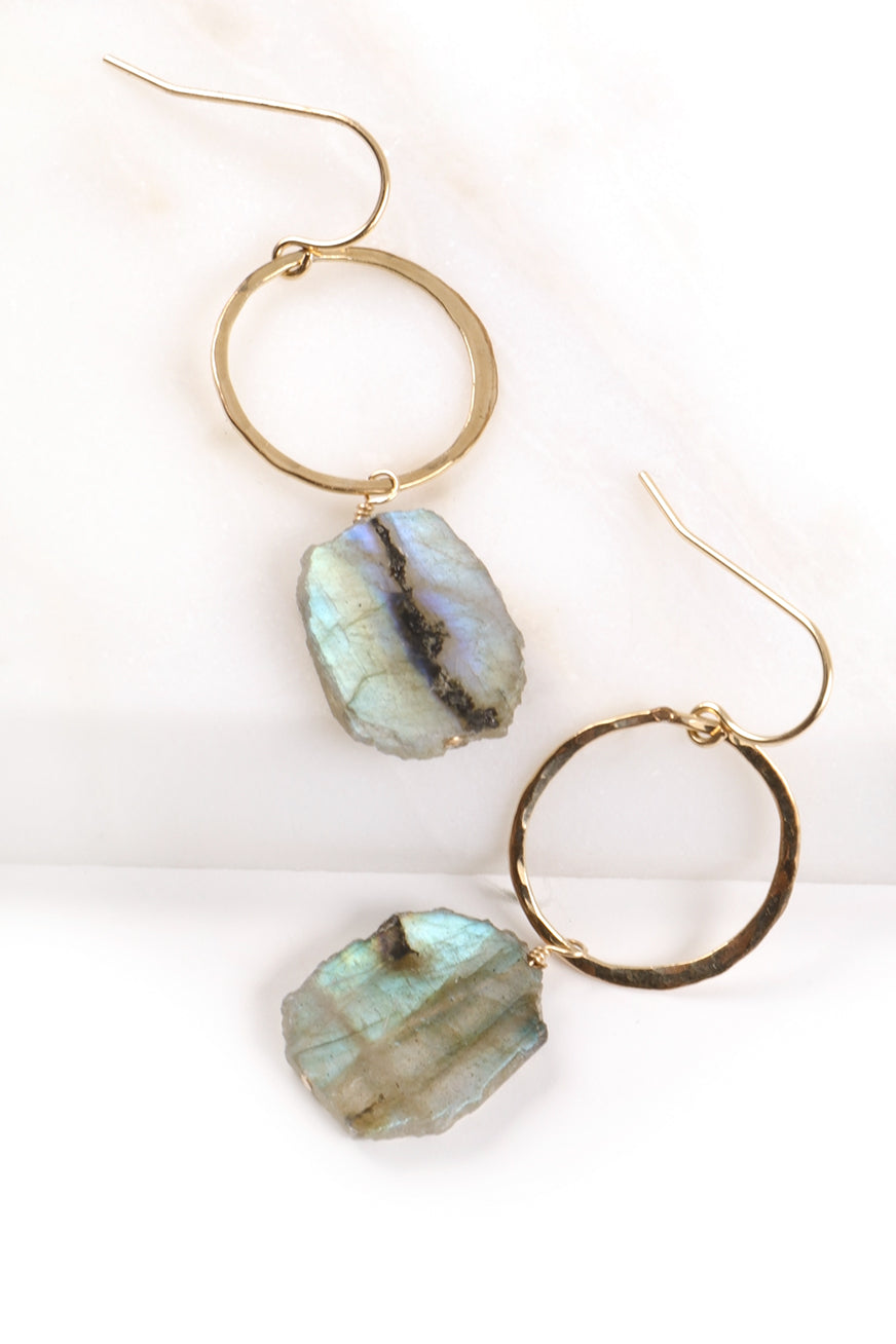 Hammered Hoop Labradorite Earrings