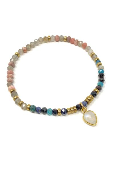 Multi-Gemstone and Labradorite with Moonstone Charm Bracelet