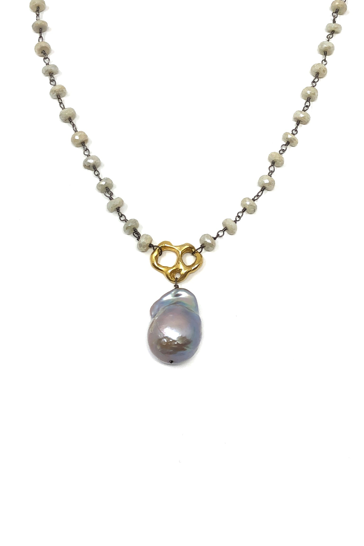 Silverite and Baroque Pearl Statement Necklace