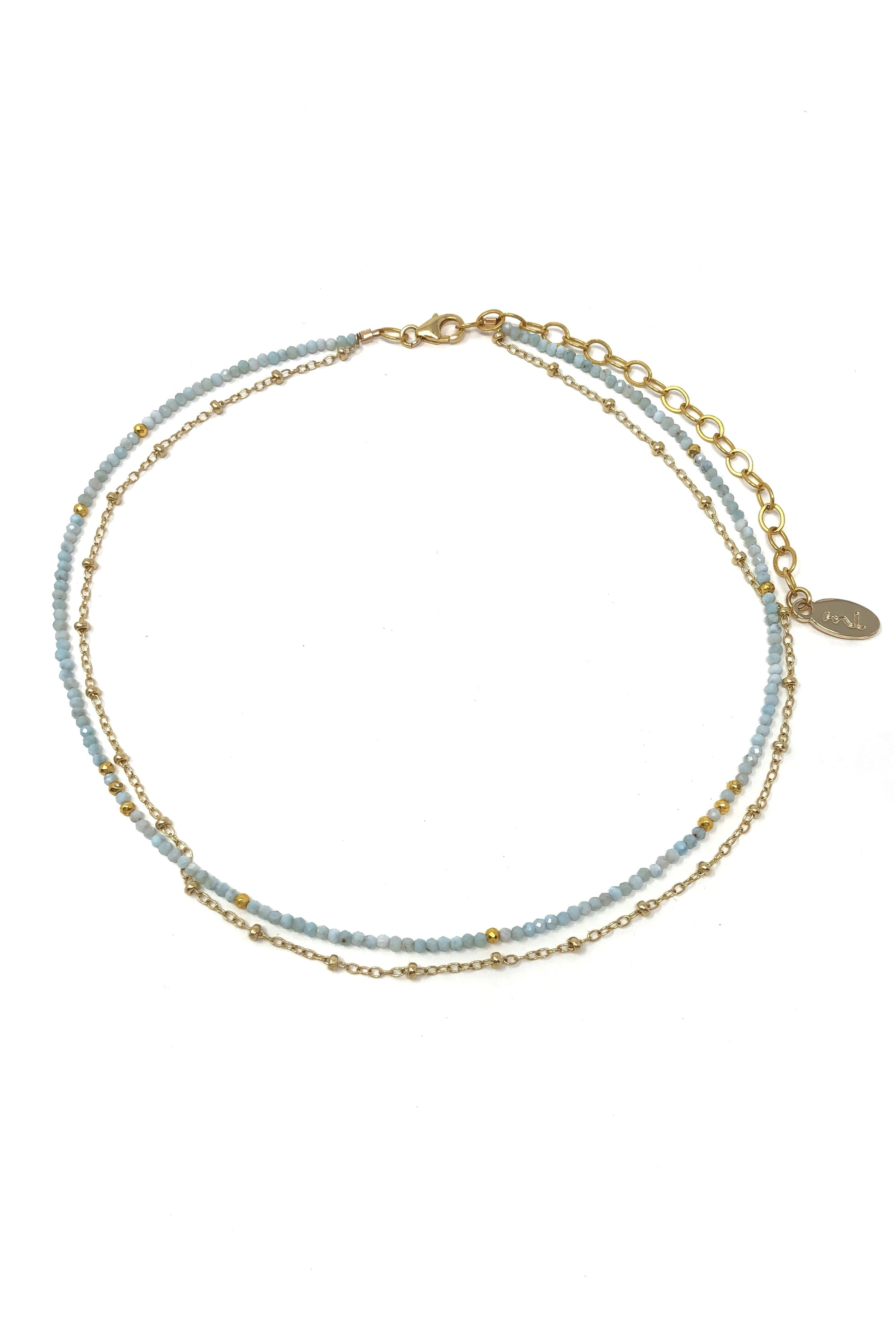 Larimar and Gold Chain Necklace
