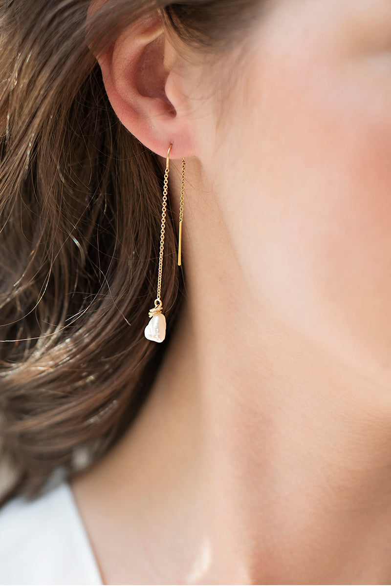Keshi Pearl Threader Earrings