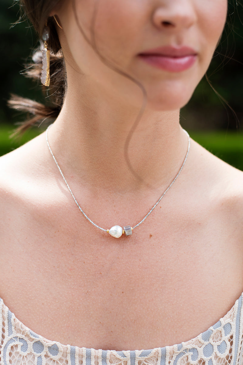 Freshwater Pearl Grey Moonstone Necklace