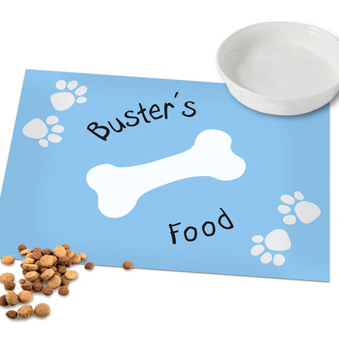 Personalised Blue Pawprint Dog Placemat