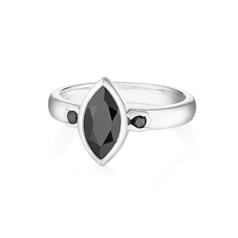 PETALA Ring - Faceted Black Onyx