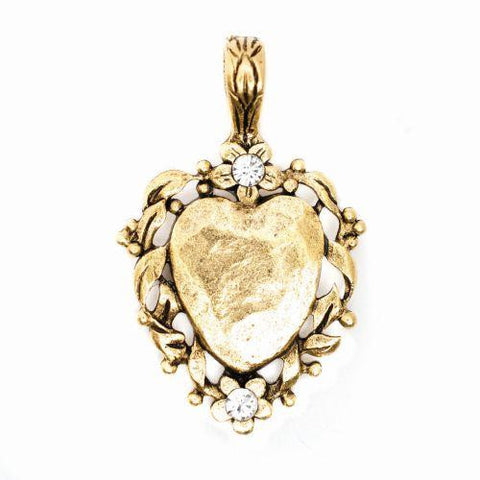 Beaucoup Designs Aimez Floral Large Heart Charm with rhinestone 14 kt gold plated Made in USA