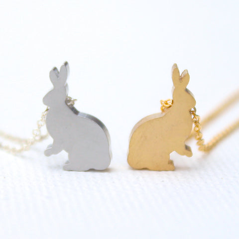 3D Bunny Rabbit Necklaces - 18k Gold and Rhodium Charm Necklaces
